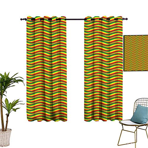 Rasta,Waterproof Window Curtains,Vivid Colors Ethiopian Flag Colors in Wavy Style Stripes Image,Ideal for Living Rooms and bedrooms,52x63 Inch Marigold Green and Red
