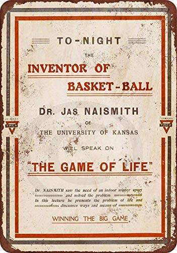 qidushop Blechschild 1918 James Naismith Vorlesung Basketball Aluminium Blechschild 25x35 Outdoor Schild Geschenk lustiges Metall Straßenschild Wanddeko