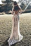 ztmyqp Simplicidad con Estilo Vestido de Novia Encaje Vintage sin Espalda Boho Beach Simplicidad con Estilo Vestidos de Novia Manga Larga Forro Desnudo Vestidos de Boda Bohemios de País Hippie Vesti