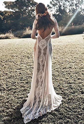 mylyfu Stilvolle Einfachheit Brautkleid Vintage Lace Backless Boho Beach Stilvolle Einfachheit Brautkleider Langarm Nude Futter Country Bohemian Brautkleider Hippie Gypsy Bride Dress Stilvolle Einfac