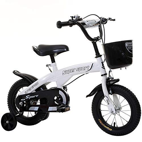 Bicicleta con Pedales para niño y niña, con sillín y Manillar Regulables Ruedines de Entrenamiento, Frenos, para Niños de 3 a 12 Años 12-18 Pulgadas,Blanco,18''
