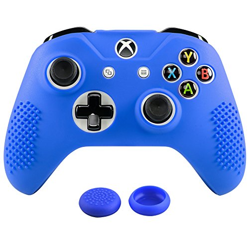 eXtremeRate Soft Anti-Slip Dark Blue Silicone Controller Cover Skins Thumb Grips Caps Protective Case for Microsoft Xbox One X & One S Controller Blue
