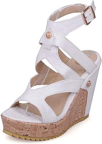 Chaussures pour Femmes - Sandales Gladiateur en PU (polyuréthane) - Printemps et été - Talon compensé à Bout Ouvert - Blanc Noir Soirée
