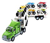 Mozlly Friction Powered ATV or Monster Truck Vehicles with Trailer Carrier Truck Playset, Superior Stunt Machine Cars Pretend Play Ideal Gift Kids Toddlers Boys Toys & Games Play Set, Styles May Vary