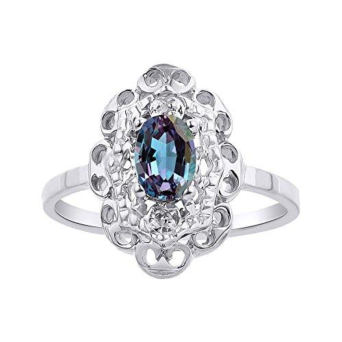 Diamante & Simulado Alexandrite anillo Set en oro blanco de 14 K diamante Halo