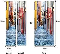 Dアステッカー3D印刷深い路地通りのポスターPVC防水全体ドアステッカーDIY壁画家の装饰粘着性手作り-85cm(W)* 215cm(H)-77x200厘米