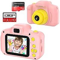 Cámara para Niños Juguete para Niños Cámara Digital para Niños pequeños 2 Inch HD Pantalla 1080P with Calidad 32GB TF Tarjeta Regalos Juguete para 3 a 12 años Niños y niñas