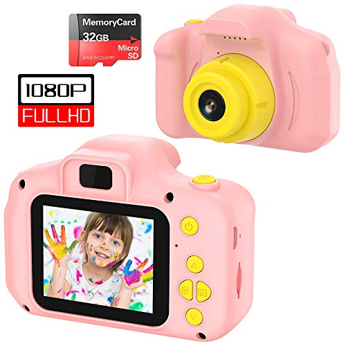 vatenick Cámara para Niños Juguete para Niños Cámara Digital para Niños pequeños 2 Inch HD Pantalla 1080P with Calidad 32GB TF Tarjeta Regalos Juguete para 3 a 12 años Niños Niñas