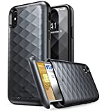 iPhone X Wallet Case, Clayco Argos Series Premium Hybrid Protective Wallet Case Credit Card Slot Holder for Apple iPhone X 2017 (Black)