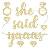 """Para cuando ella dijo sí no es suficiente... lo tenemos cubierto. Nuestra """"dice yaaas"""" Banner de oro es la manera perfecta de comenzar la fiesta nupcial. El tamaño perfecto: grueso, purpurina apliques con cartulina mide 5,5pies de ancho con cada let..."""