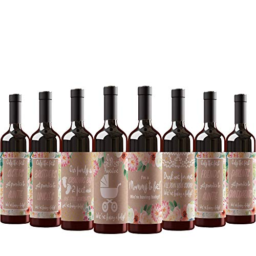 8 Pregnancy Announcement Wine Bottle Labels. For Parents to Grandparents, Brothers Sisters Friends Promoted to Aunts Uncles. Announcing New Baby Reveal. Baby Surprise Gifts Decorations