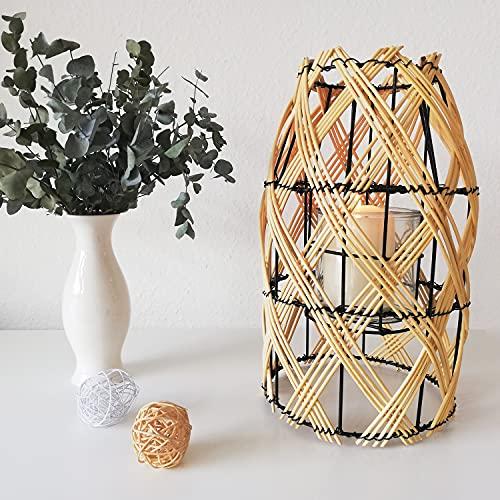 Laterne aus Rattan Twisted für Garten, mit Teelichtglas und Henkel, Kerzenhalter Kerzenständer Windlicht Natur