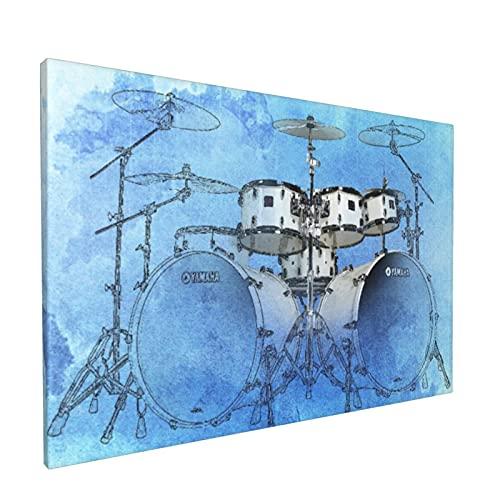 Impresiones de arte de pared,Batería Jazz Día de Navidad Guitarra Azul, Pintura moderna enmarcada óleo sobre lienzo para sala de estar dormitorio principal Decoración 18x12 pulgadas
