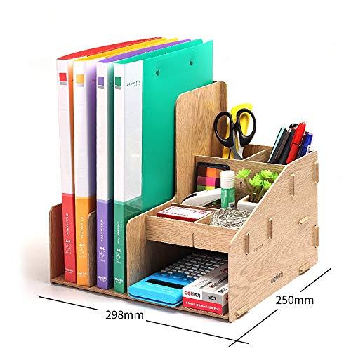 Dongyd Classeur Porte-Organiseur de fichiers, Portable Rangement de Bureau Classeur de Livres Trieur de Livres Boîte de Rangement Multi-Sections pour Stylo-agrafeuse, 11,7 x 9,8 po