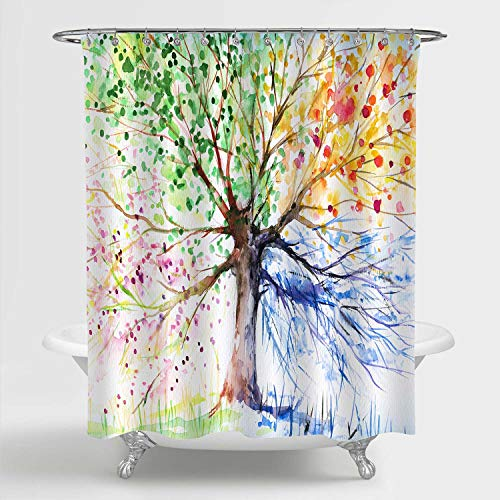 """MitoVilla Tree of Life Shower Curtain for Colorful Bathroom Decor, Watercolor Four Season Tree Art Print Bathroom Accessories with Hooks, Gifts for Men, Women and Kids, 72"""" W x 72"""" L"""