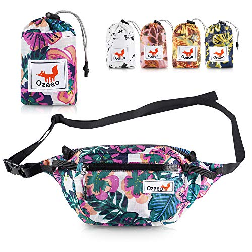 Ozaeo Travel Waist Bag, Water Resistant, Lightweight, Hiking Fanny Pack with 3-Zipper Pockets and Adjustable Strap Flower Colorful
