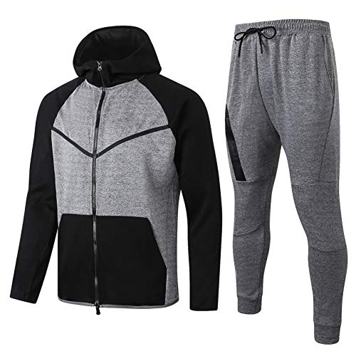 XXJJ Chándal de moda Jordan para hombre, fitness, entrenamiento, ropa deportiva, dos piezas, conjuntos, sudadera con capucha + pantalones, traje deportivo para hombre, gris XXL