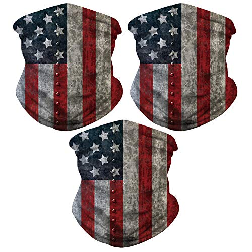 Sibosen 3 Pack American Flag Neck Gaiter Face Cover Scarf Breathable Gator Mask Cooling Bandana, Gray/Red