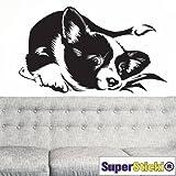 Supersticki® - Adhesivo decorativo para pared (60 x 60 cm), diseño de perro tumbado