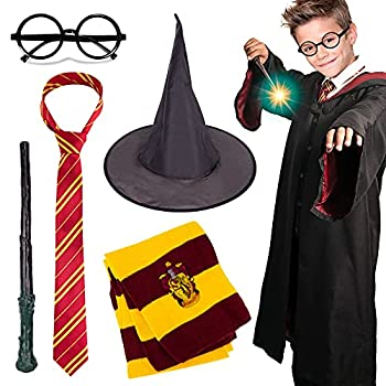 Novelty Scarf Wizard 5 pcs Cosplay set for Halloween Christmas Striped Tie Novelty Glasses Frame Wizard hat Magic Wand and Heathered Knit Scarf for Cosplay Party Costume Necktie Accessories