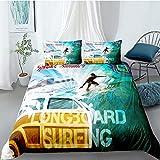 Tomifine Juego de ropa de cama con estampado 3D, 135 x 200 cm y funda de almohada de 80 x 80 cm, 2/3 piezas, microfibra, diseño de balón de fútbol y baloncesto