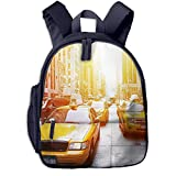 Mochila para Niños Taxi Fresco de Nueva York, Mochila Escuela Primaria de Edad Peso Ligero Pérdida Mochila de Viaje para Chico Chica