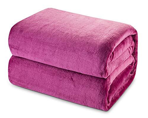 Mantas de Franela 150x200cm Súper Suaves Esponjosas para El Sofá Cama Colcha de Microfibra,tamaño Reina, Fucsia