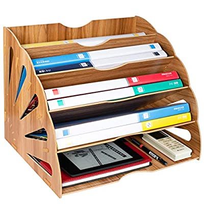 Tonsmile Wooden Filing Trays, Large Wood Office Desk Stationery Expanding File Organiser Rack Tray Holder Divider for A4 Paper, Magazine, Paperwork and Document