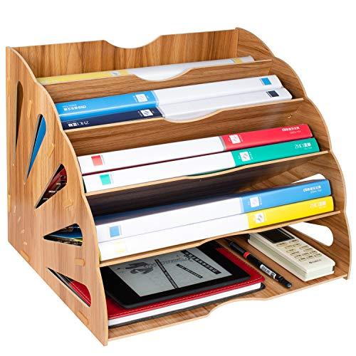 Tonsmile Dokumentenablage Holz, Büro A4 Ablage Postablage Schreibtisch Organizer Briefständer Box Für Magazine, Papiere und Dokumente