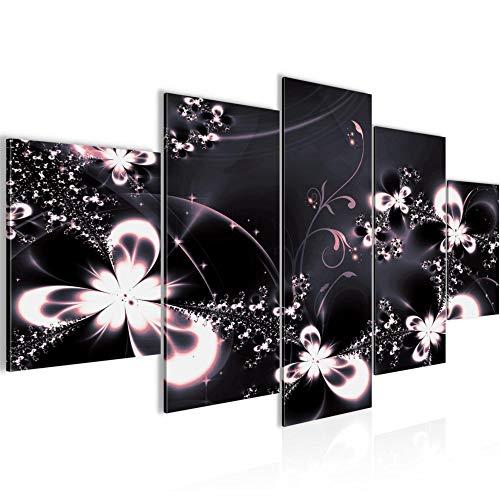 Abstrakt Blumen Bild Vlies Leinwandbild 5 Teilig Grau Violett 100553c