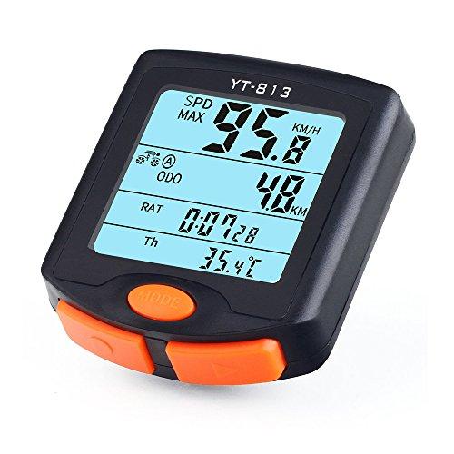 Teckcool Fahrradcomputer mit LCD-Anzeige, Tachometer und Kilometerzähler, kabellos, wasserdicht