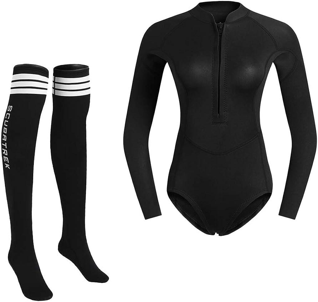 perfeclan Damen Langarm Tauchanzug Neoprenanzug Badeanzug Surfanzug mit rutschfest Neopren Tauchsocken