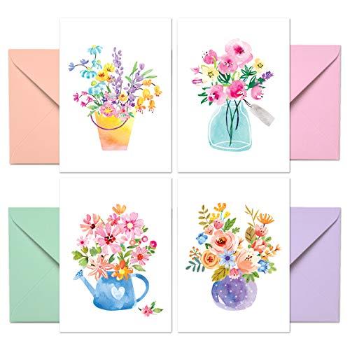 Sweetzer & Orange 24 Blanko-Grußkarten mit Umschlägen – Dickes 300-g/m2-Papier - In hübscher Aufbewahrungsbox - Für Geburtstag, Weihnachten, Business, Hochzeit - 10 x 14 cm, Wasserfarben Blumen