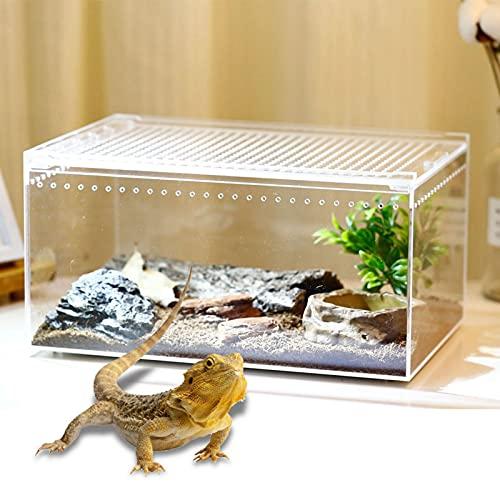 飼育ケース 爬虫類 ケージ 爬虫類繁殖ボックス 昆虫飼育ケース 飼育容器 無色 透明 アクリル製 爬虫類 給餌箱 給餌ボックス 隔離ボックス スライドカバー 通気性 積み重ねる 爬虫類飼育箱 トカゲ ヤモリ 蜘蛛 サソリ 小型ヘビなど爬虫類用 10.3x8.3x6CM