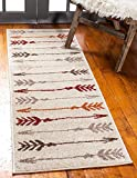 Unique Loom Autumn Collection Modern Arrows Warm Toned Runner Rug, 2 x 6 Feet, Beige/Gray