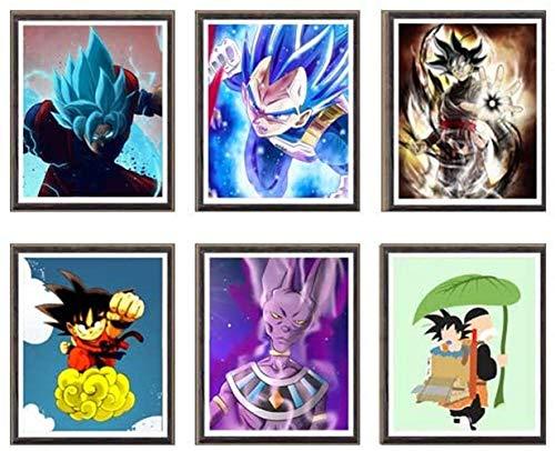 YEAHTOPE Ultra Dragon Ball Lord of Beerus Super Saiyan SSJ Goku Vegeta Manga Anime impresiones artísticas sobre lienzo, 8 x 10 pulgadas, juego de 6, sin marco