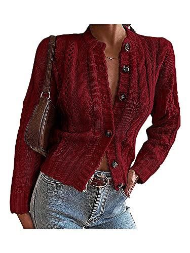 Kaenwang Cárdigan para mujer con punto torcido, botones frontales abiertos hacia abajo Outwear Coat, Vino Tinto, M