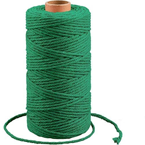 Macrame Cotton Cord, 3mm X 328 Feet Macrame Rope Cotton Rope Craft Cord for Wall Hanging, Plant Hangers, DIY Art Crafts and Gift Wrapping(Green)
