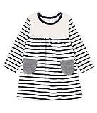Petit Bateau Baby-Mädchen Robe ML_5045901 Kleid, Mehrfarbig (Marshmallow/Smoking 01), 68 (Herstellergröße: 6M/67cm)
