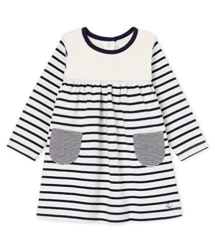 Petit Bateau Baby-Mädchen Robe ML_5045901 Kleid, Mehrfarbig (Marshmallow/Smoking 01), 80 (Herstellergröße: 12M/74cm)