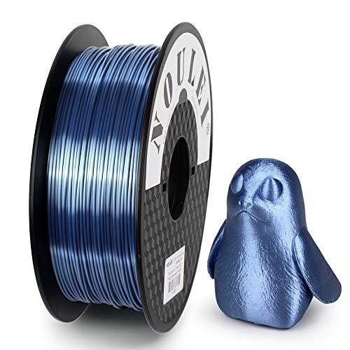Noulei Filamento PLA per stampanti 3D, 1.75 mm, Shiny 3D Printing Filament Silk SILVER BLUE 1kg
