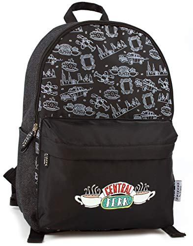Central Perk Amigos Logo Negro Zip Estilo Mochila Moda