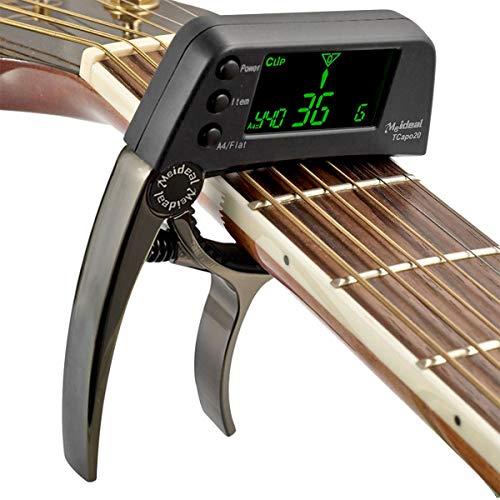 2 in 1 Stimmgeräte Kapodaster für Gitarre Clip-on Stimmgerät Gitarre, Tuner Stimmgerät/Tuner mit LCD-Display für Gitarre, Ukulele, C/D Violine, Bass, Geige, Chromatisches Stimmgerät mit Batterie