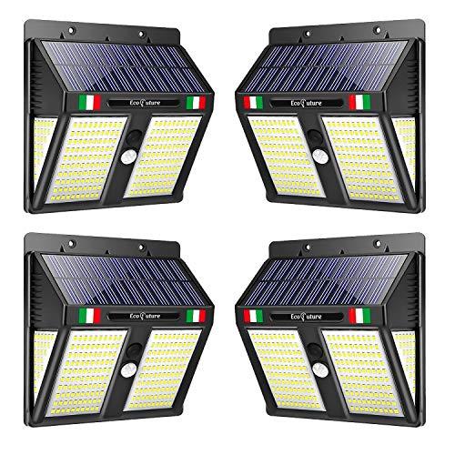 【GARANZIA A VITA】Luce Solare LED Esterno, EcoFuture 250 LED, Lampada Solare Da Esterno, Luce Solare Da Esterno Con Sensore Di Movimento, 270° Di Illuminazione, Impermeabile IP65. (4 Pezzi)