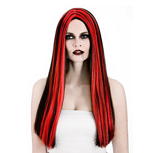 Ladies Black/Red Vampiress Wig Halloween Fancy Dress Accessory