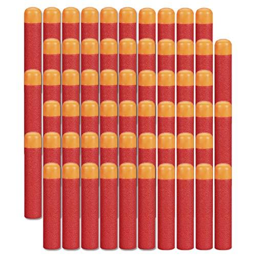HONGCI 9,5cm Eva Darts Pfeile Für Alle Nerf N-Strike Elite MEGA Blaster Toy Gun, Nerf MEGA Zubehör,Spielzeug Pistole Scharfschütze Bullet (60Pcs Rot)