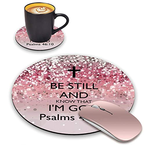 BWOOLL Round Mouse Pad and Coasters Set, Pink Glitter Christian Quote Psalm 46:10 - Be Still and Know That I am God Mouse Pad, Non-Slip Rubber Base Mouse Pads for Laptop and Computer