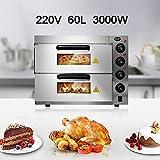 60L Zweistufiger Pizzaofen, Elektrischer MiniofenröSter, Hochtemperaturbacken Bei 350 ° C, Energiesparend Und Zeitsparend, UnabhäNgige Temperaturregelung, Mit ZubehöR, 57 * 56 * 44 Cm,Silver