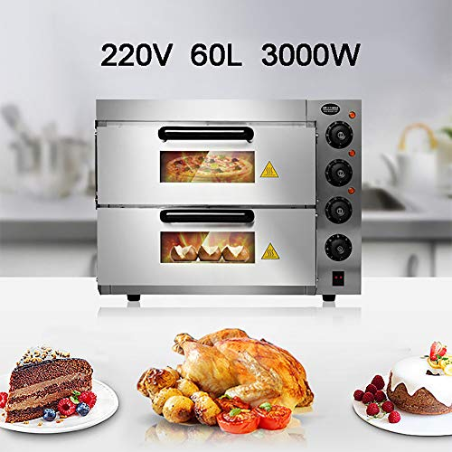 60L Two-Tier Pizza Oven, Mini Oven Electric Roaster, 350 °C High Temperature Baking, Energy Saving And Time Saving, Independent Temperature Control, With Accessories, 57*56*44cm,Silver