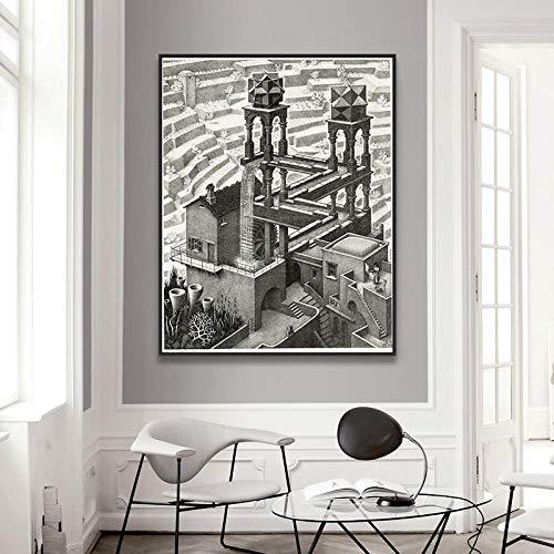 Unbekannt Escher Relativitätstheorie Optische Täuschung Zeichnung Poster und Drucke Leinwandbilder Malerei Wandbilder -50x63cm No Frame